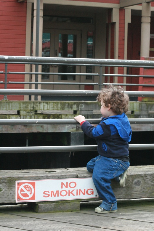 toddler looks over edge of Seattle pier into water