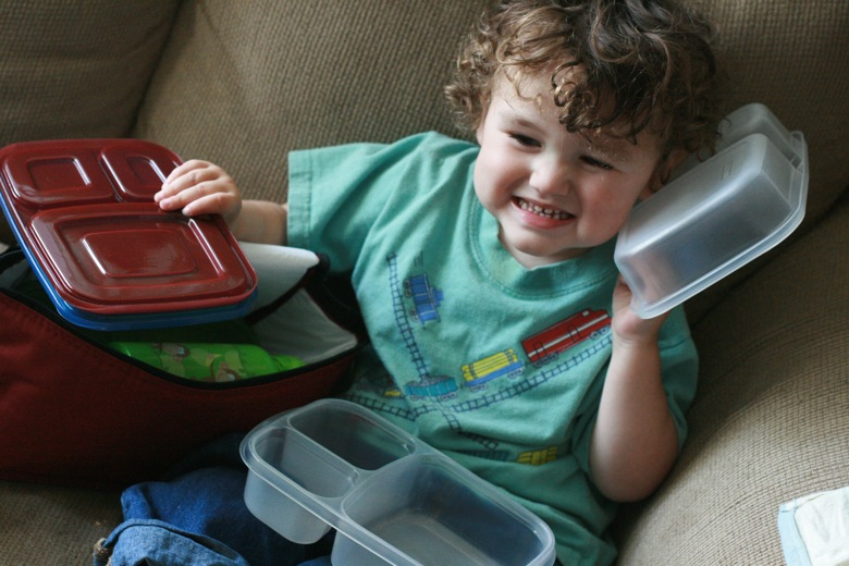 boy playing with containers — EasyLunchboxes giveaway