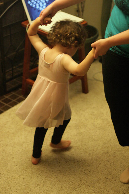 Prima Princessa ballet with toddler and mama running