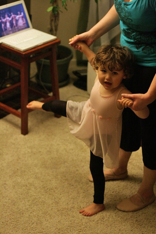 Prima Princessa ballet with toddler and mama kicking
