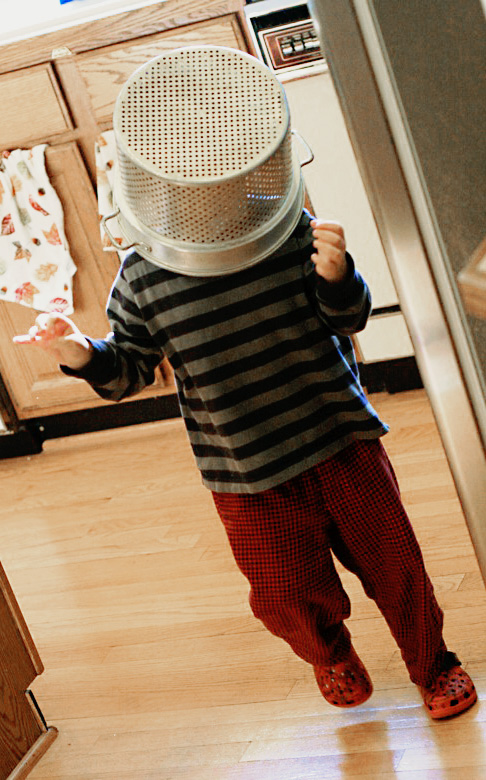 mikko robot boy with colander on his head