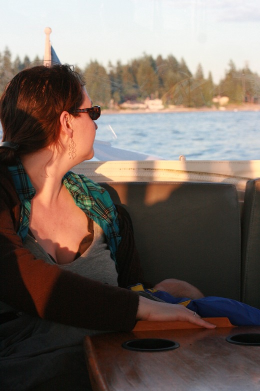 Liberty Bay boating outdoors — mama in sunglow