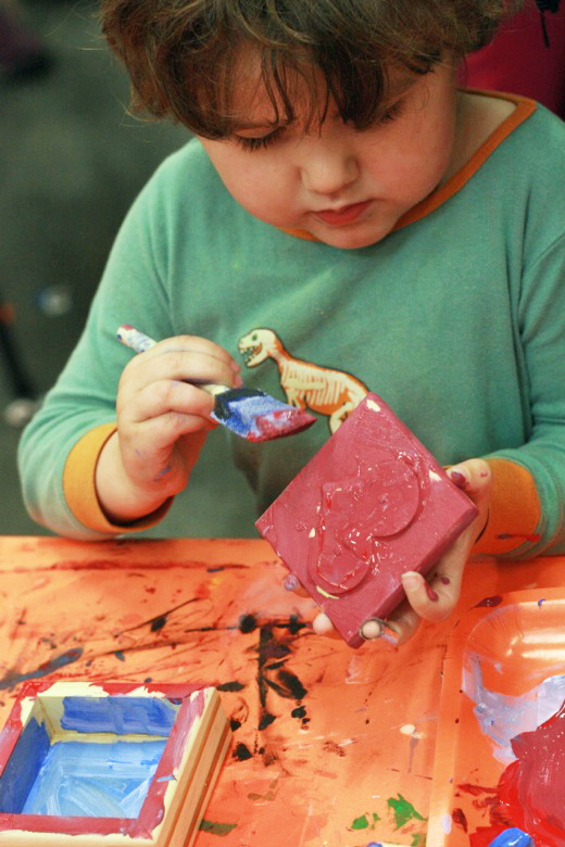 painting Home Depot kids workshop of wooden box — holidays Valentine's Day 2012