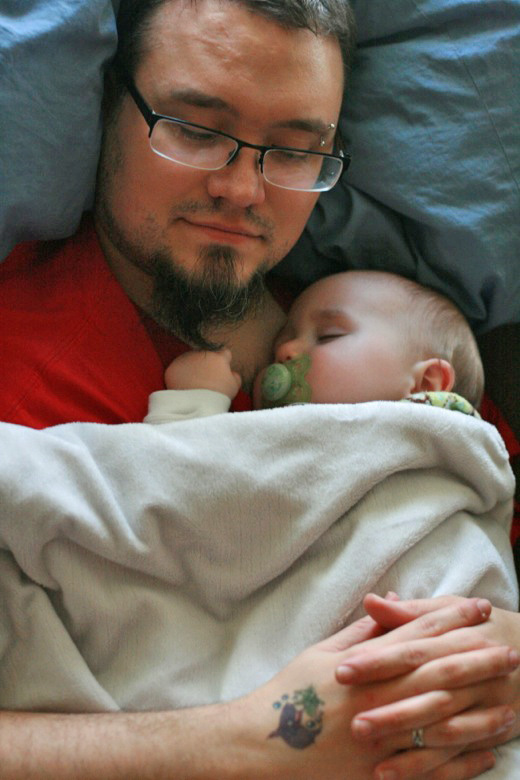 baby and dad napping