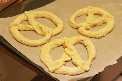 parchment paper circle - cooking homemade soft pretzels
