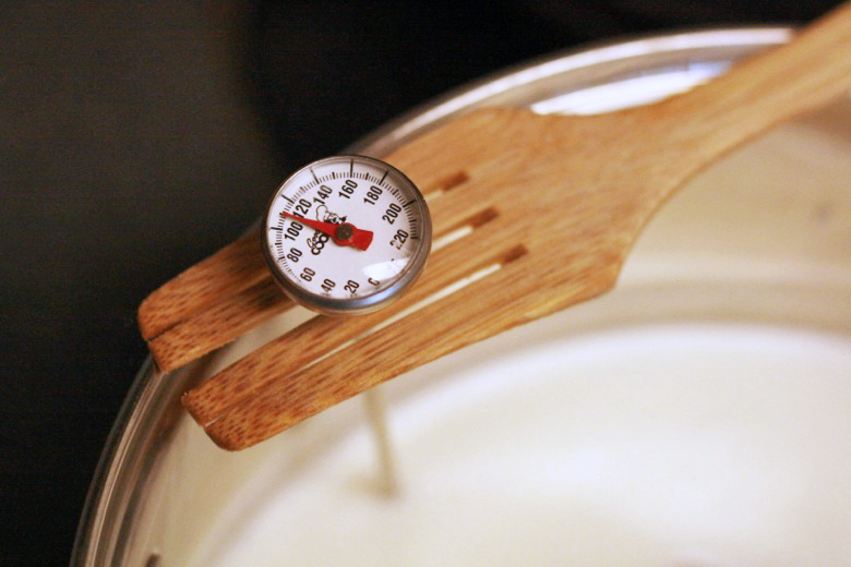 kitchen thermometer in pot of milk - homemade ricotta cheese recipe