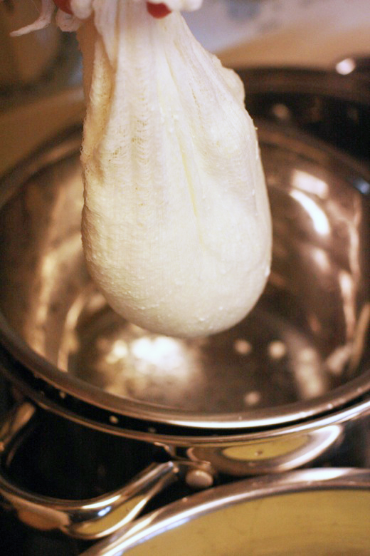 wring out the whey from the cheesecloth - homemade ricotta cheese recipe