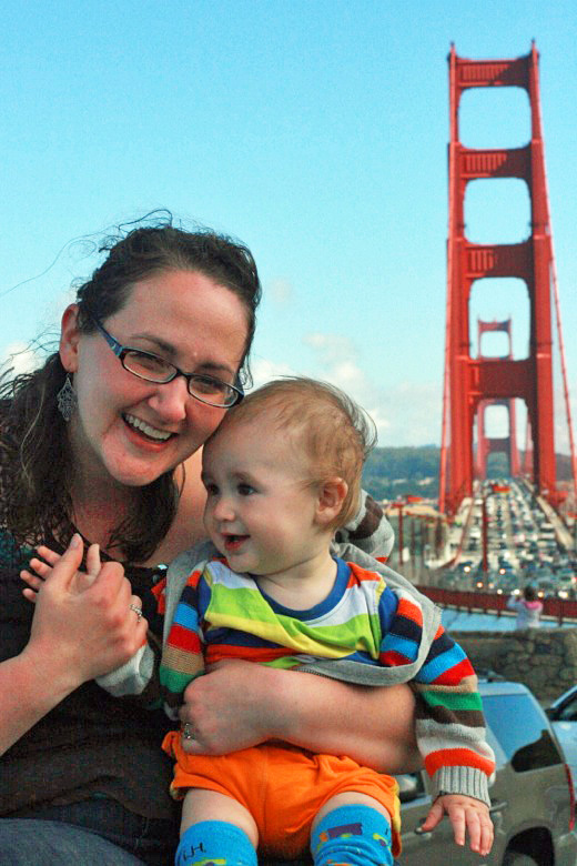 mom and baby at Golden Gate Bridge