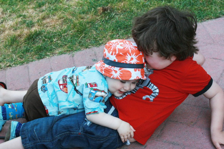 tickle fight between brothers — Six Flags California