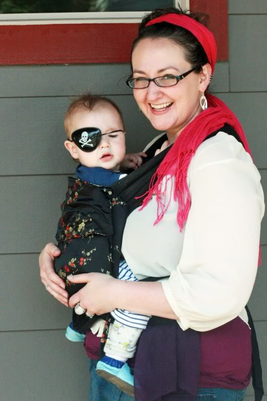 mama and baby dressed up in pirate costumes — Seafair Pirates Landing Alki Beach Seattle summer 2012