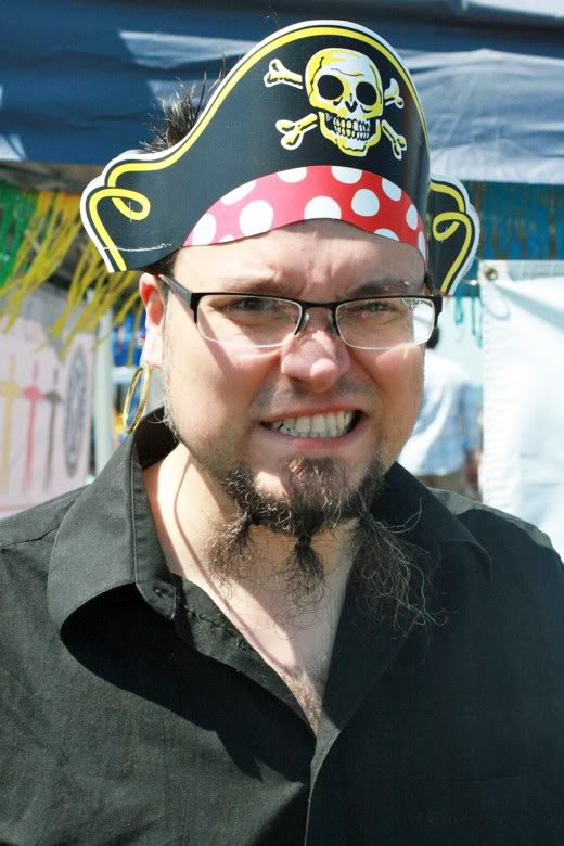 man as growling pirate with beard — Seafair Pirates Landing Alki Beach Seattle summer 2012
