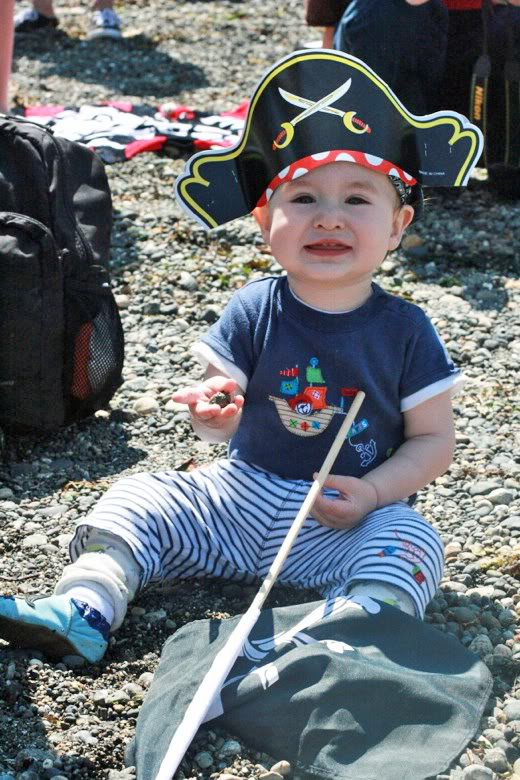 baby pirate boy in sand — Seafair Pirates Landing Alki Beach Seattle summer 2012