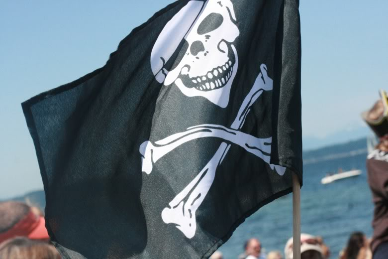 jolly roger flag — Seafair Pirates Landing Alki Beach Seattle summer 2012