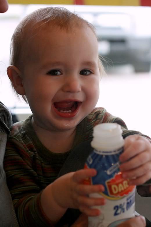 Krispy Kreme donuts baby with milk —Alrik a13mo a1yo
