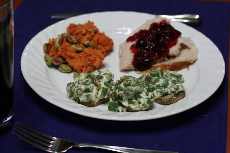 the feast: stuffed mushrooms, carrots, turkey and cranberry sauce — Thanksgiving dinner 2012 holidays