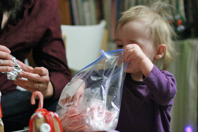 baby with bag of candy — holidays Christmas12