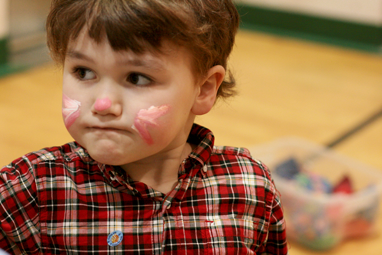 sad bunny face paint at carnival at toddler play gym community center - Easter 2013 holidays