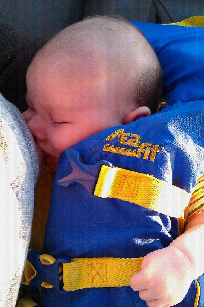 Liberty Bay boating outdoors — alrik newborn baby anb breastfeeding in life jacket
