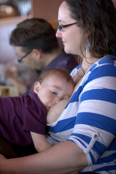 breastfeeding milk-drunk baby at Red Robin in downtown Seattle