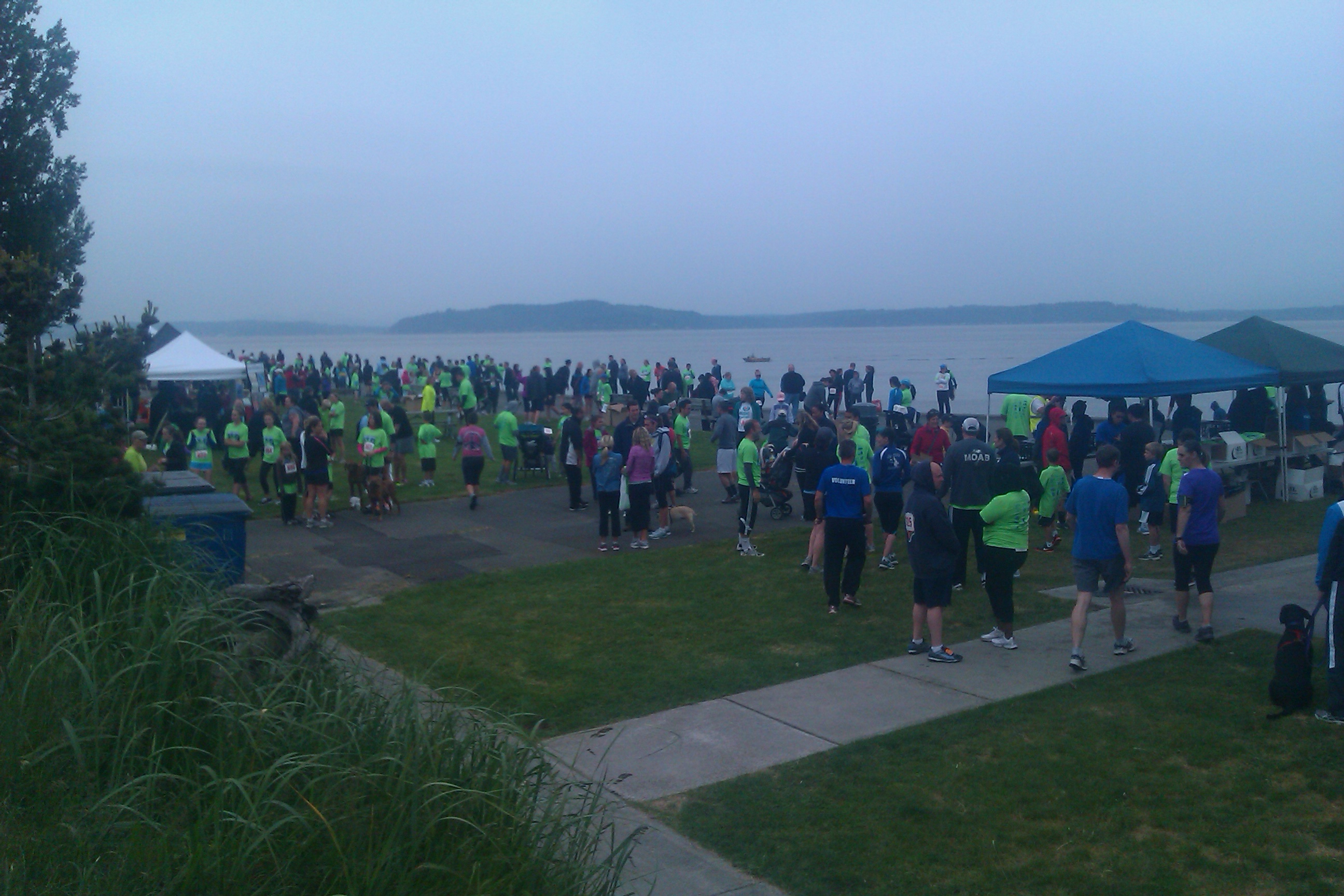 getting ready for West Seattle 5k race