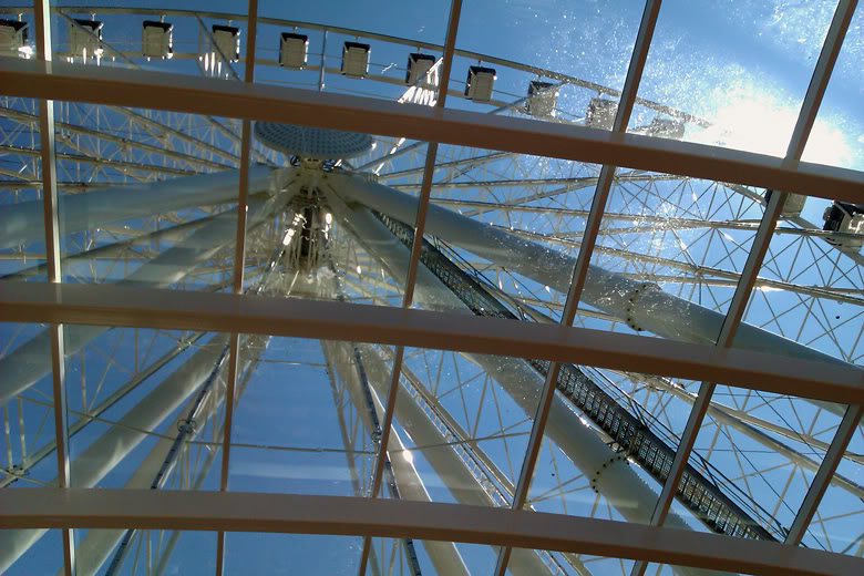 Seattle Great Wheel downtown looking up