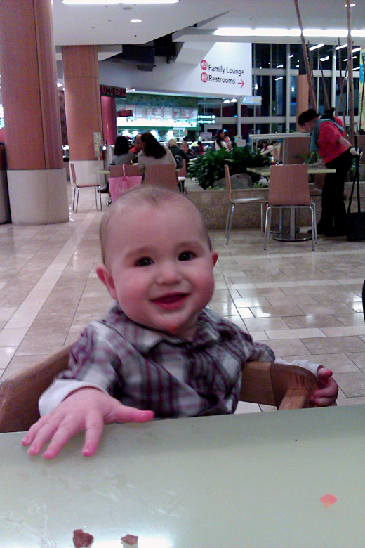 eating baby led solids at mall — holidays Valentine's Day 2012