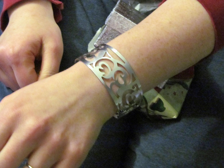 jewelry present from sam of cuff bracelet —