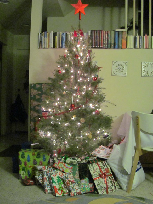 decorated and lit tree with presents underneath —