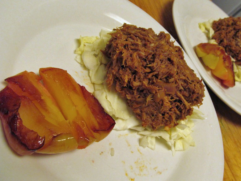 paleo pulled pork on cabbage with roasted apple —