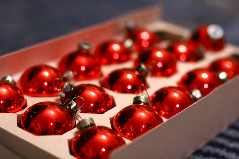 red ball Christmas ornaments 2011
