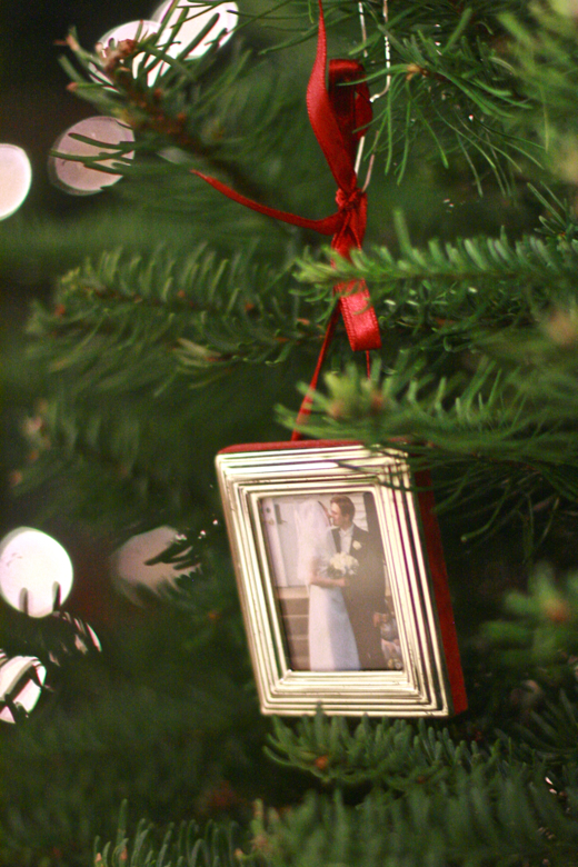 wedding couple ornament on tree — Christmas 2011