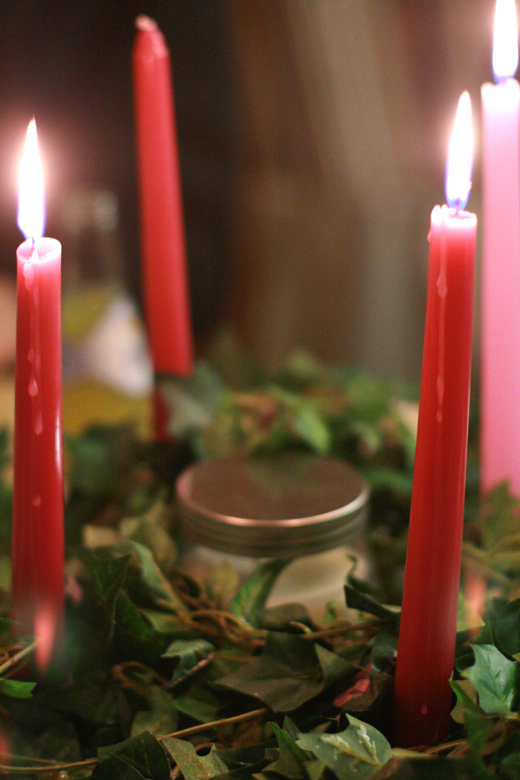 advent wreath with three candles lit — Christmas 2011