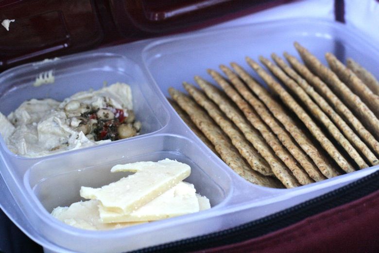 bento compartments filled with cheese hummus and crackers — EasyLunchboxes giveaway