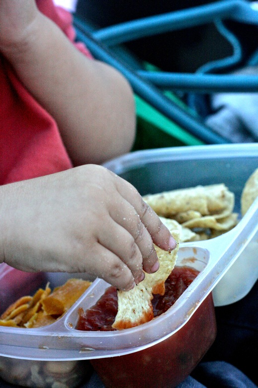 boy dipping chip into salsa at ZooTunes — EasyLunchboxes giveaway