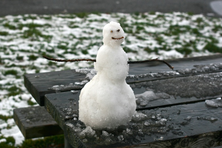 building tiny snowman outdoors in Seattle — on picnic table winter