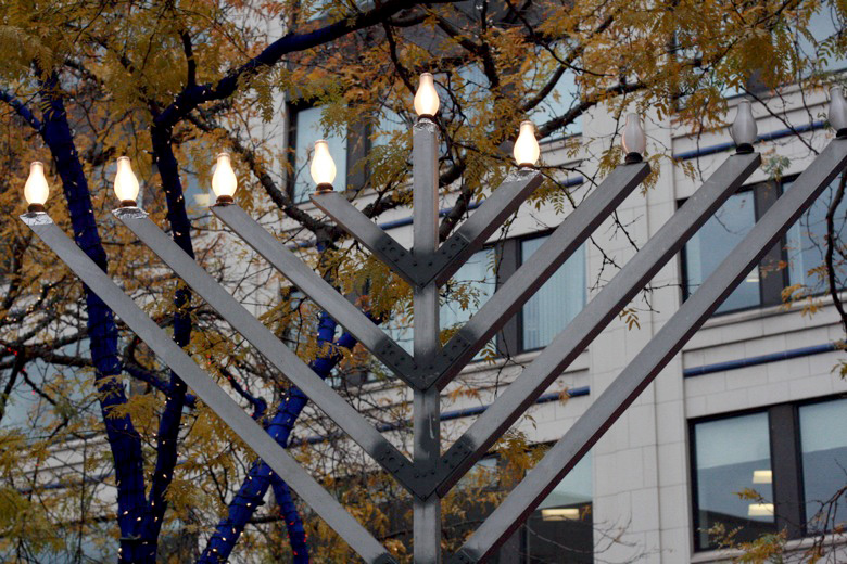 huge menorah — Christmas downtown Seattle meetup holidays