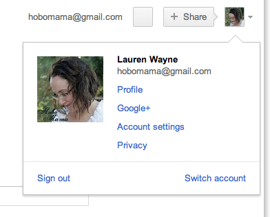 Drop-down for switch accounts through multiple-sign in for Google and Gmail screenshot