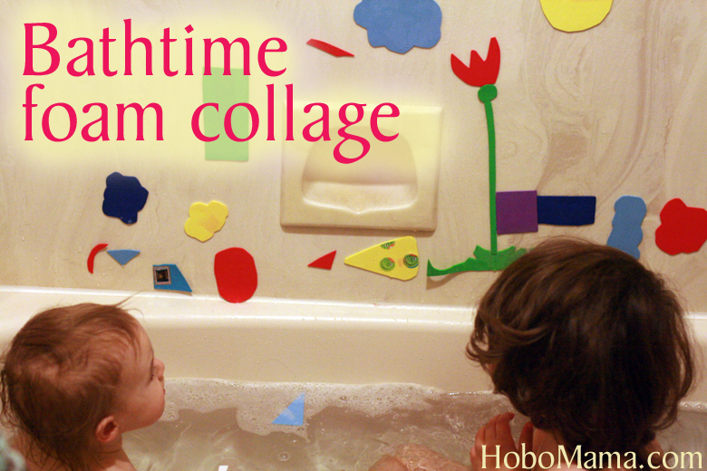 bathtime foam shapes art collage play