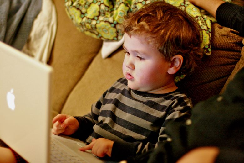 boy blogger typing on laptop