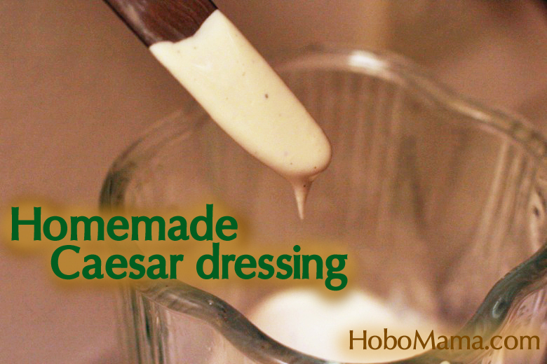 dipping into blender - homemade Caesar salad dressing recipe cooking