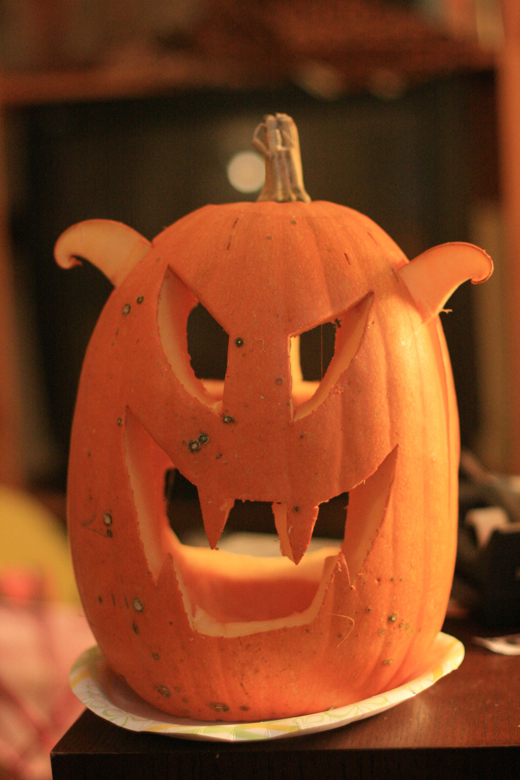 scary pumpkin with curled ears