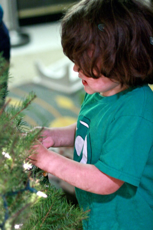 boy helping decorate the tree with ornaments — christmas12 holidays mikko m5yo