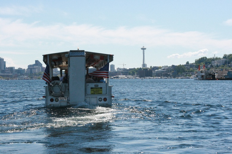 Ride the Ducks Seattle duck boat ahead of us on water