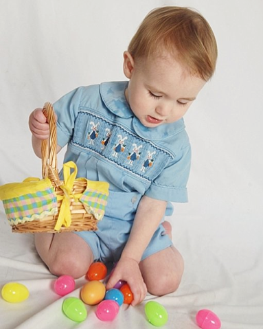 boy toddler in smocked outfit with Easter basket and eggs portrait 2013 - holidays