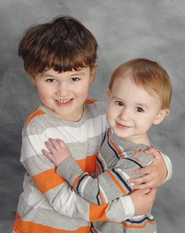 hugging boys Easter portrait 2013 - brothers siblings holidays