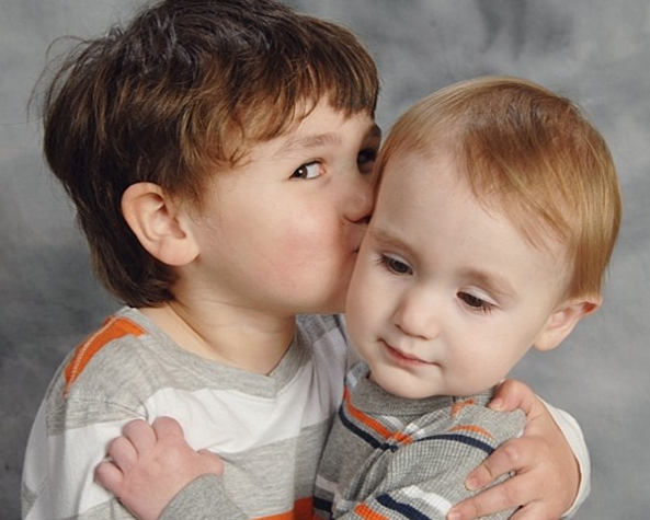 kissing boys Easter portrait 2013 - brothers siblings holidays