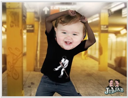JibJab e-card video still with baby break dancing