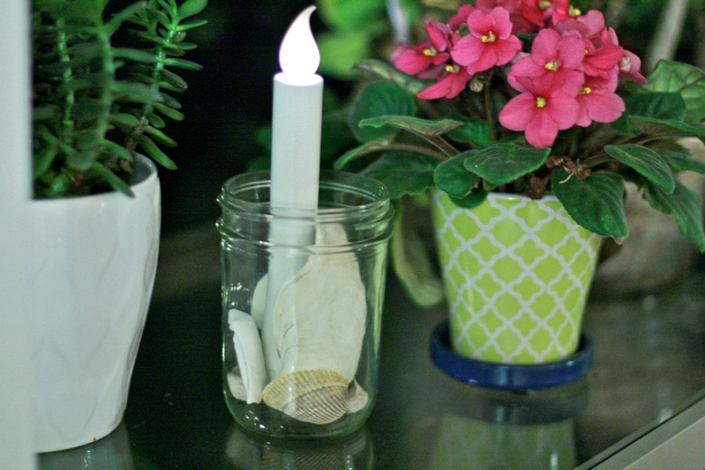 led candle and shells in mason jar — christmas12 holidays decorations