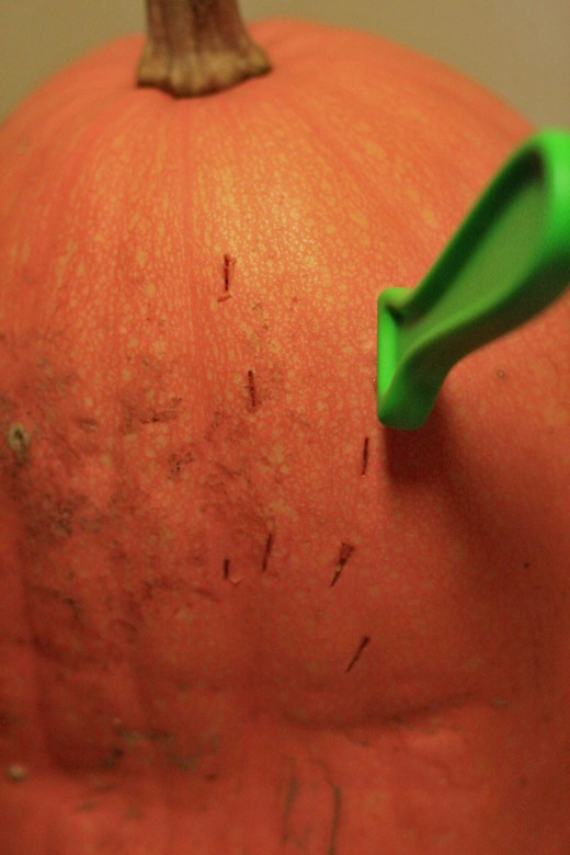 stab marks in the pumpkin