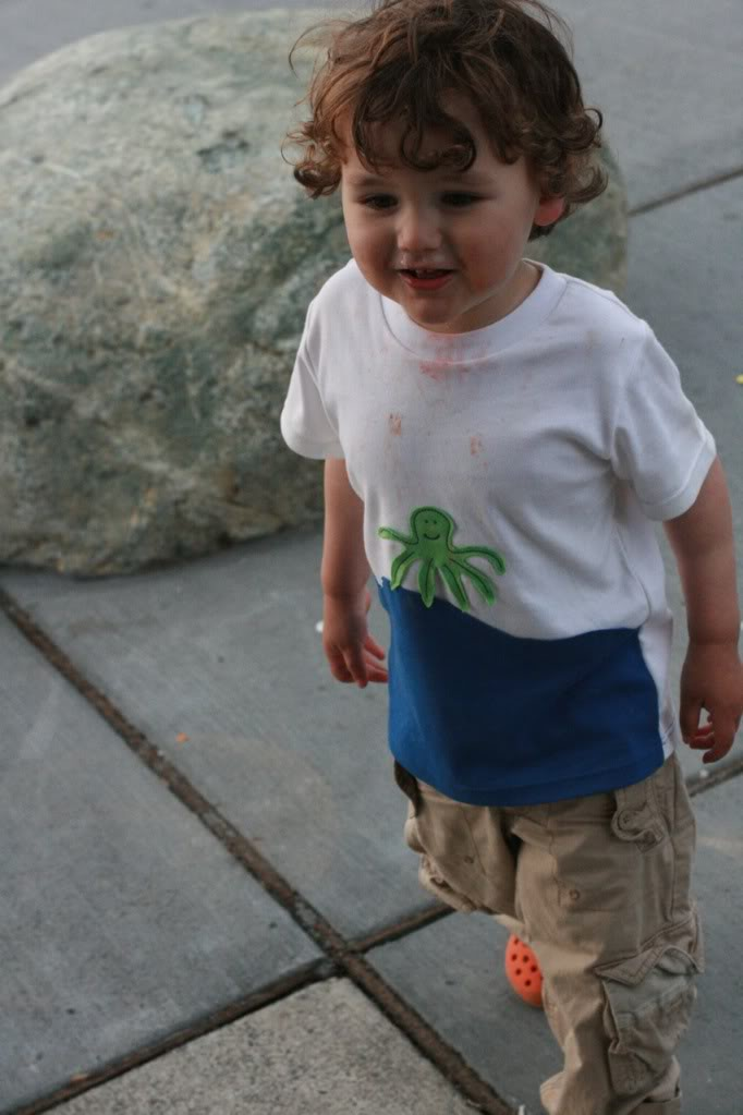 watermelon and hot dog stains on toddler shirt